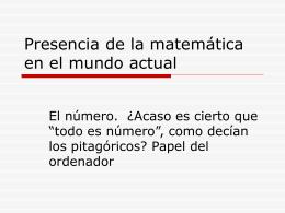 Presencia de la Matemática en el mundo actual
