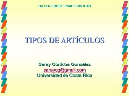 tipos de artículos - Portal de revistas académicas de la Universidad