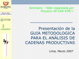 Guía Metodológica para el Análisis de las Cadena Product.