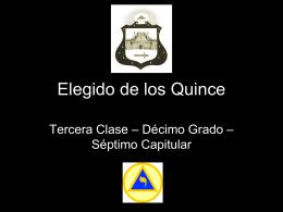 10° Grado – Maestro Elegido de los Quince