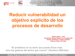 GTZ: Reducir vulnerabilidad un objetivo explicito