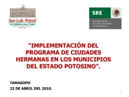 """""""implementación del programa de ciudades hermanas en los"""
