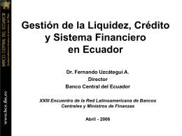 El crédito bancario en el Ecuador