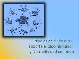 Niveles de ruido que soporta el oído humano. Normatividad del ruido