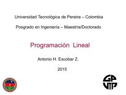Programación Lineal - parte 2 - Universidad Tecnológica de Pereira