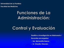 Funciones de la Administración Control y Evaluación