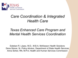 Care Coordination - Texas Department of State Health Services