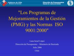 Los PMG y las Normas ISO 9001:2000