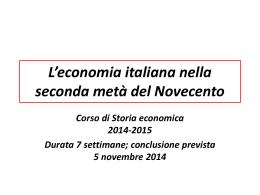 L`economia italiana nella seconda metà del Novecento