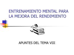 ENTRENAMIENTO MENTAL PARA LA MEJORA DEL RENDIMIENTO