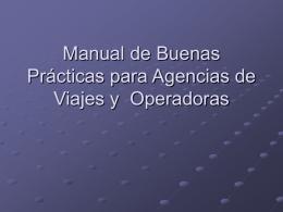 Manual de Buenas Prácticas para Agencias de Viajes y Operadoras