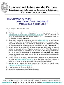AVISO IMPORTANTE - Universidad Autónoma del Carmen