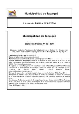 Aviso Público Minibús - Municipio de Tapalqué