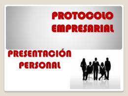 protocolo y presentación personal