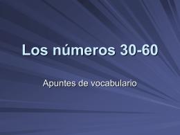 Los números 30-60