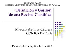 Definición y Gestión de una Revista Científica
