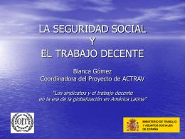 LA SEGURIDAD SOCIAL Y EL TRABAJO DECENTE