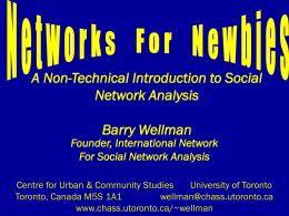 Networks for Newbies - Computing in the Humanities and Social