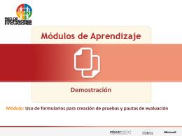Uso de formularios para creación de pruebas y pautas de evaluación