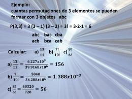 Ejemplo: cuantas permutaciones de 3 elementos se pueden formar