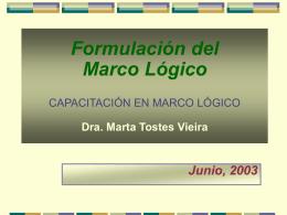 Formulación del Marco Lógico CAPACITACIÓN EN MARCO