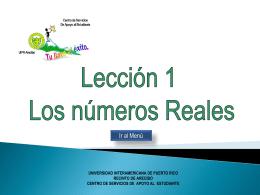 Números reales - Recinto de Arecibo