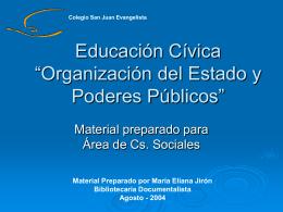 """Educación Cívica """"Organización del estado y Poderes Públicos"""""""