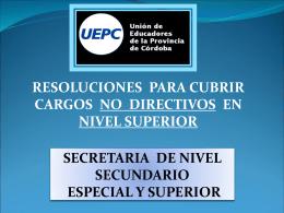 resoluciones para cubrir cargos no directivos en nivel