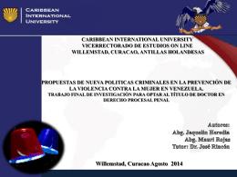 Propuesta de Nuevas Politicas Criminales en la Prevencion de la