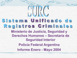 SISTEMA UNIFICADO DE REGISTROS CRIMINALES SURC