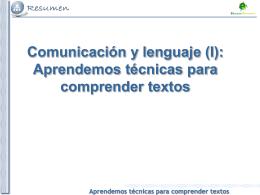 Tema 4. Aprendemos tecnicas para comprender los textos
