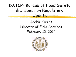 Jackie Owens DATCP - Wisconsin Association of Dairy Plant Field