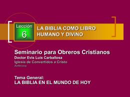 006 La Biblia como un libro humano y divino