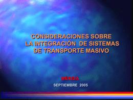 Consideraciones sobre la integración de Sistemas de Transporte