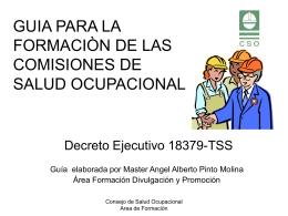 Guía para la formación CSO - Consejo de Salud Ocupacional