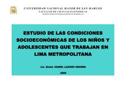 Estudio de las condiciones socioeconómicas de los niños y