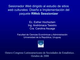 Sesionador Web dirigido al estudio de sitios web culturales. Diseño
