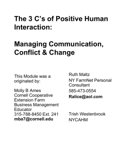 Communication, Conflict and Change - PRO
