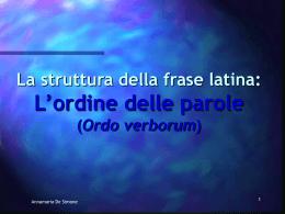L`ordine delle parole nella frase latina