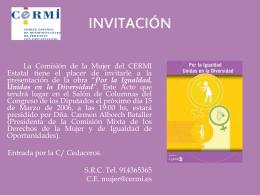 Invitación presentación del Libro Por la Igualdad Unidas en