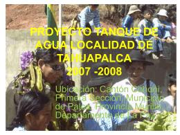 proyecto tanque de agua localidad de tahuapalca 2007 -2008