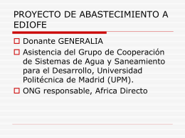 PROYECTO DE ABASTECIMIENTO A EDIOFE