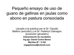 Pequeño ensayo de uso de guano de gallinas en jaulas como