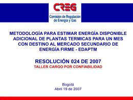 Metodología para estimar la Energía Disponible Adicional de