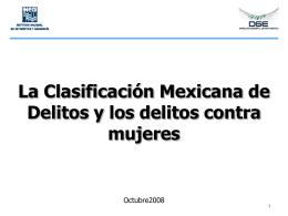La Clasificación Mexicana de Delitos y los