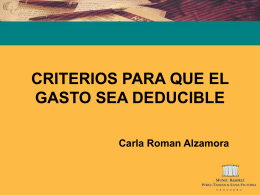CRITERIOS PARA QUE EL GASTO SEA DEDUCIBLE