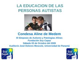 La educacion de las personas autistas