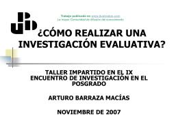 Como realizar una investigacion evaluativa?