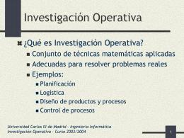 Programación de Operaciones - Universidad Carlos III de Madrid