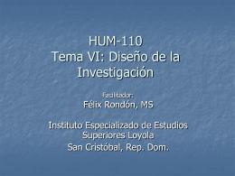 Profesor Rondon Tema 6 Diseno de Investigación
